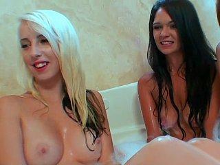 Bubble bath lesbian orgy