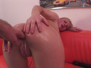 Red couch ass fuck and DP